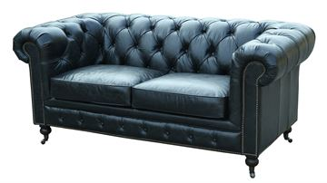 2 pers Chesterfield model Oakland med sort læder.