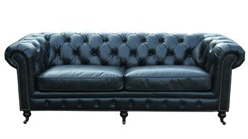 3 pers Chesterfield model Oakland med sort læder.