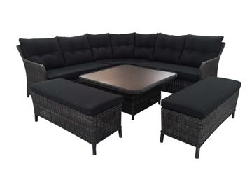 Loungesæt model Sevilla. Mixed black polyrattan.