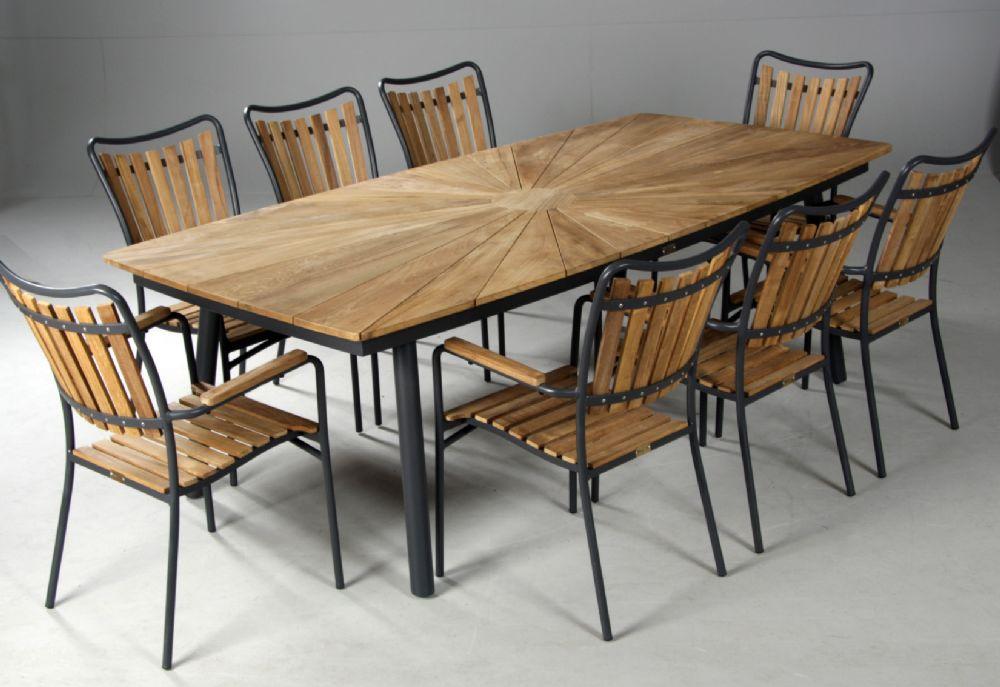 retro havemøbler Teaktræsbord 8 stole,grå retro havemøbler