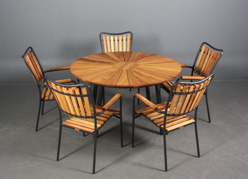 havemøbler købes Daneline Teak ø130cm + 5 stole grå havemøbler købes