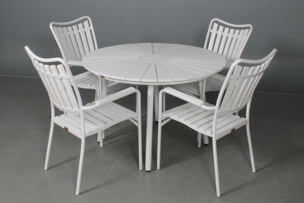 Daneline artwood Ø110 bord   4 stole hvid/hvid
