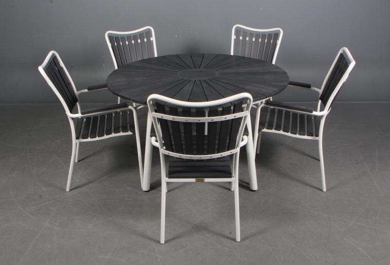 Splinternye Rundt Havebord + 5 stole QV-46