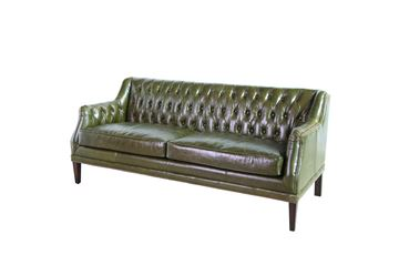 Leah cowhide sofa British green.